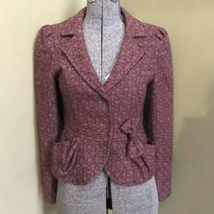 Nanette Lepore Wool Tweed Blazer Jacket Bow